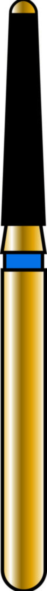 Safe End Rounded Taper 16-8mm Gold Diamond Bur - Coarse Grit