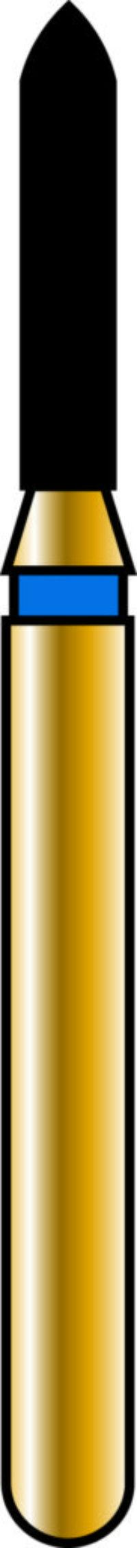 Pointed Cylinder 12-6mm Gold Diamond Bur - Coarse Grit