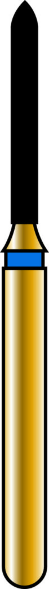 Pointed Cylinder 10-8mm Gold Diamond Bur