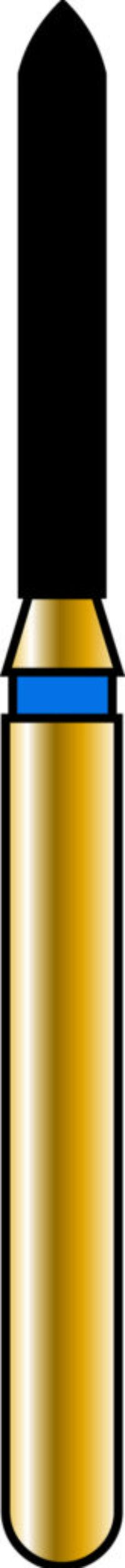 Pointed Cylinder 12-8mm Gold Diamond Bur