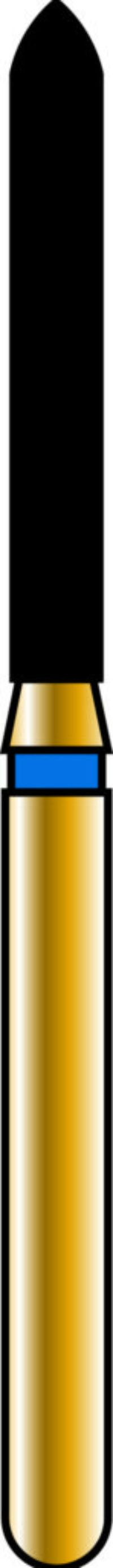 Pointed Cylinder 14-10mm Gold Diamond Bur