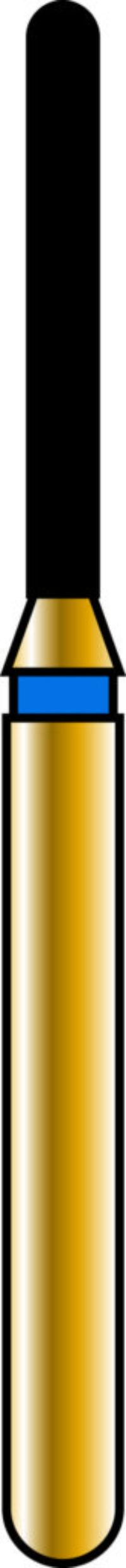 Round End Cylinder 10-8mm Gold Diamond Bur