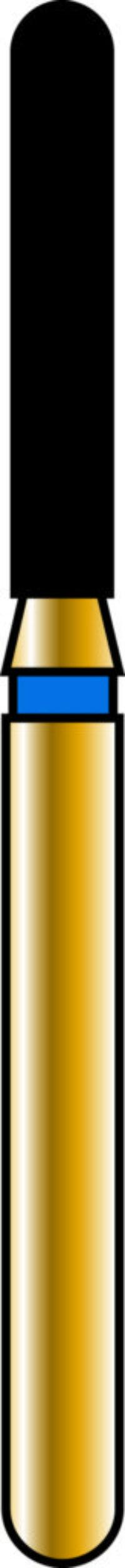 Round End Cylinder 14-8mm Gold Diamond Bur