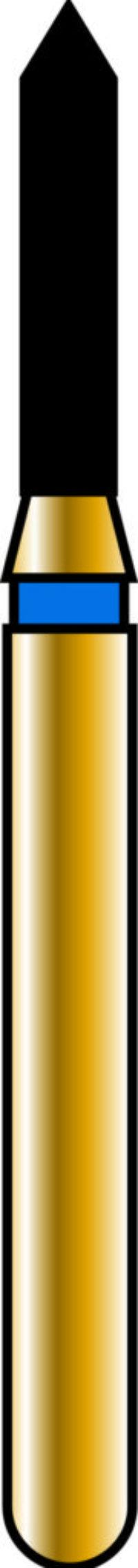 Pointed Cylinder 12-6mm Gold Diamond Bur
