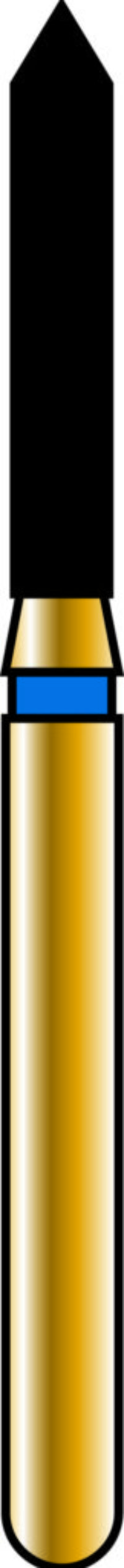 Pointed Cylinder 14-8mm Gold Diamond Bur