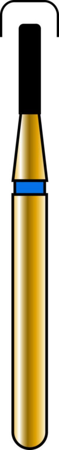 Round Edge Cylinder 10-4mm Gold Diamond Bur