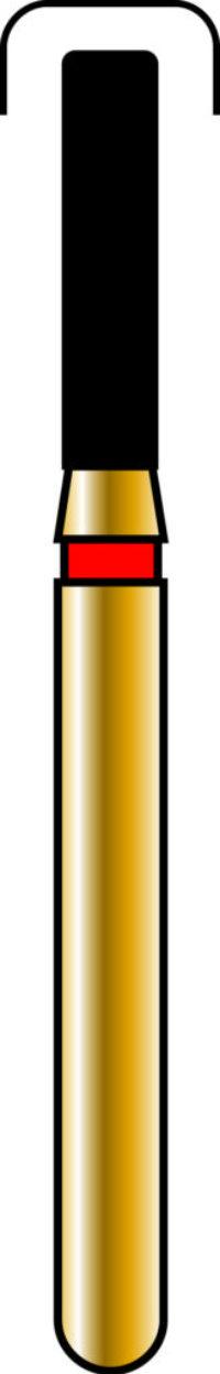 Round Edge Cylinder 14-6mm Gold Diamond Bur