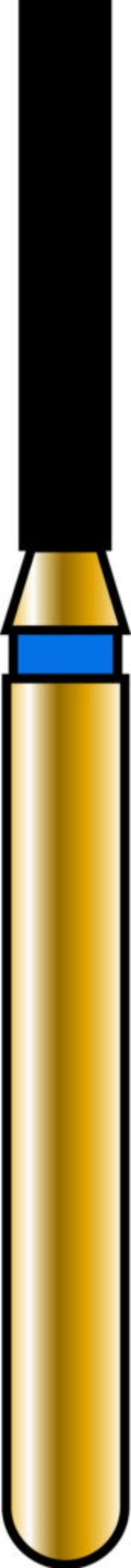 Flat End Cylinder 12-7mm Gold Diamond Bur