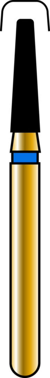 Round Edge Taper 16-6mm Gold Diamond Bur - Coarse Grit