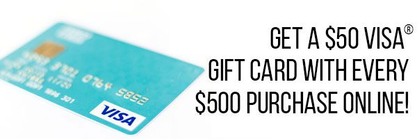 All customers who place a $300 order receive a $50 gift card.