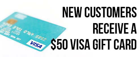 New customers who place a $300 order receive a $50 gift card.